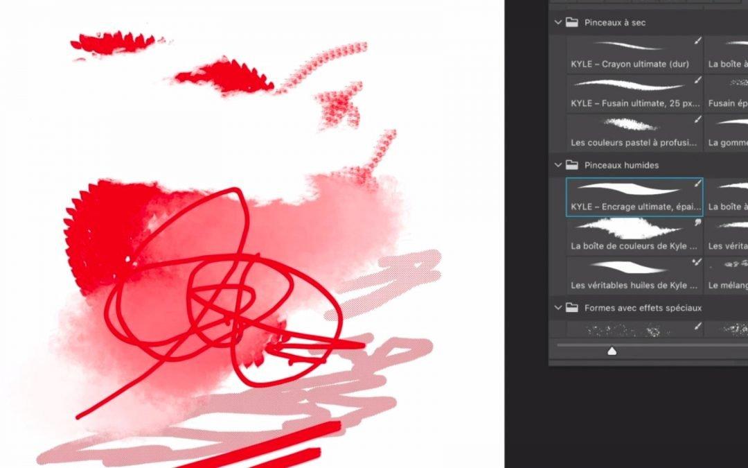 Utilisation des pinceaux des couleurs de premier et d'arrière plan